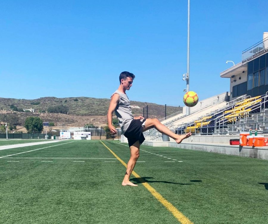 Sophomore Cameron Korshavn practices for the next varsity soccer game at the University of La Verne on Oct. 9.