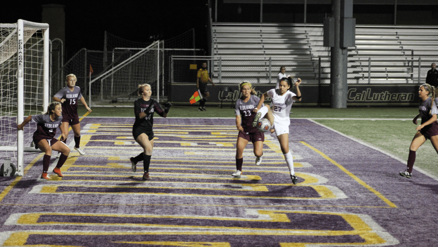 First-year forward Isabella Veljacic attempts to score a goal on Friday, Oct. 25 against the University of Redlands.