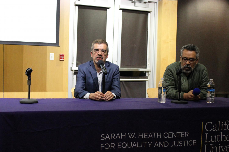 Disrupting negative connotations: Brothers Alvaro Huerta (left) and Salomon Huerta (right) were panelists at Cal Lutheran Thursday, Nov. 14.