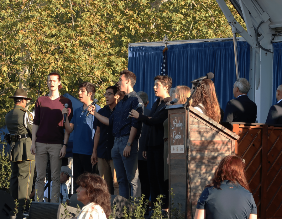 Remembering the victims: The Cal Lutheran Kingsmen and Regals Quartets sang the national anthem at the beginning of the event.
