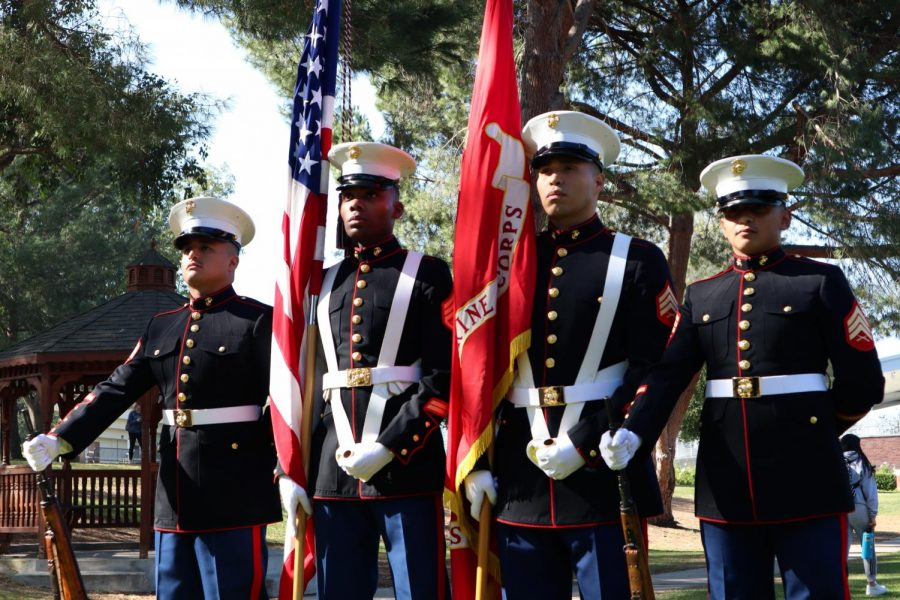 Sgt.+Davila+Rogger%2C+Staff+Sgt.+Stephen+Miller%2C+Sgt.+Francisco+Gama%2C+Sgt.+Loya+Alvin+of+the+Color+Guard+Weapons+Company+prepare+to+march+for+the+National+Anthem+during+a+veteran%E2%80%99s+celebration+at+California+Lutheran+University.+