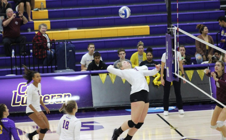 Sophomore+middle+blocker+Maci+Haddad+jumps+to+hit+a+spike+on+Saturday%2C+Nov.+2+while+playing+the+Redlands+Bulldogs.