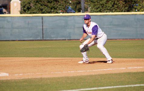 Junior first-baseman Zach Bullard prepares for an incoming line-drive from Cal Tech.