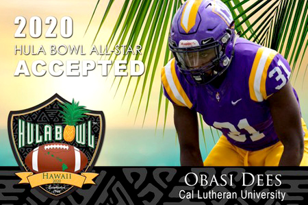 Senior defensive back Obasi Dees was selected to compete in the 2020 Hula Bowl as a Division III player.