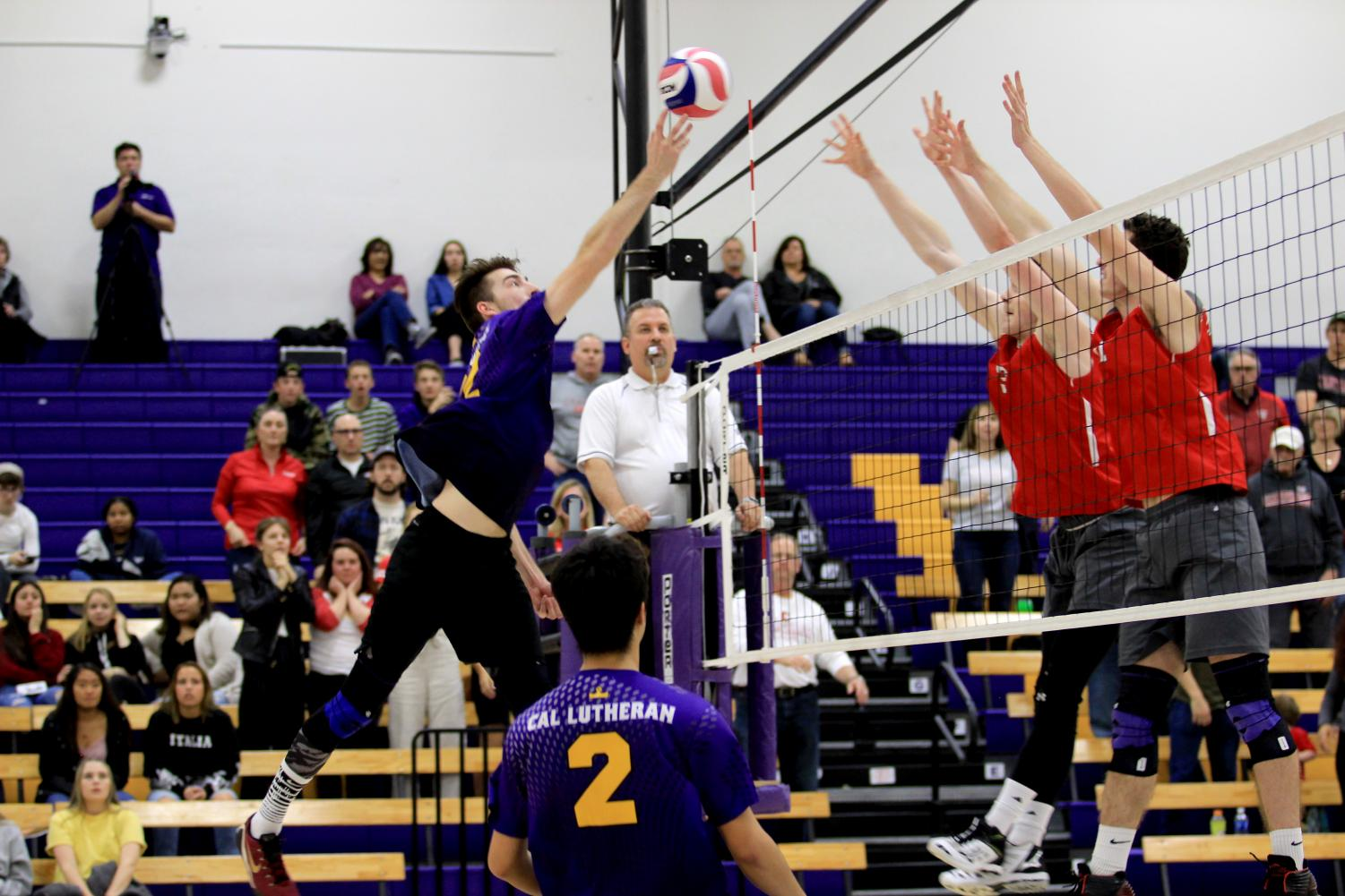 Senior opposite hitter Andrew Reina attempts to tip the ball over the Carthage block.