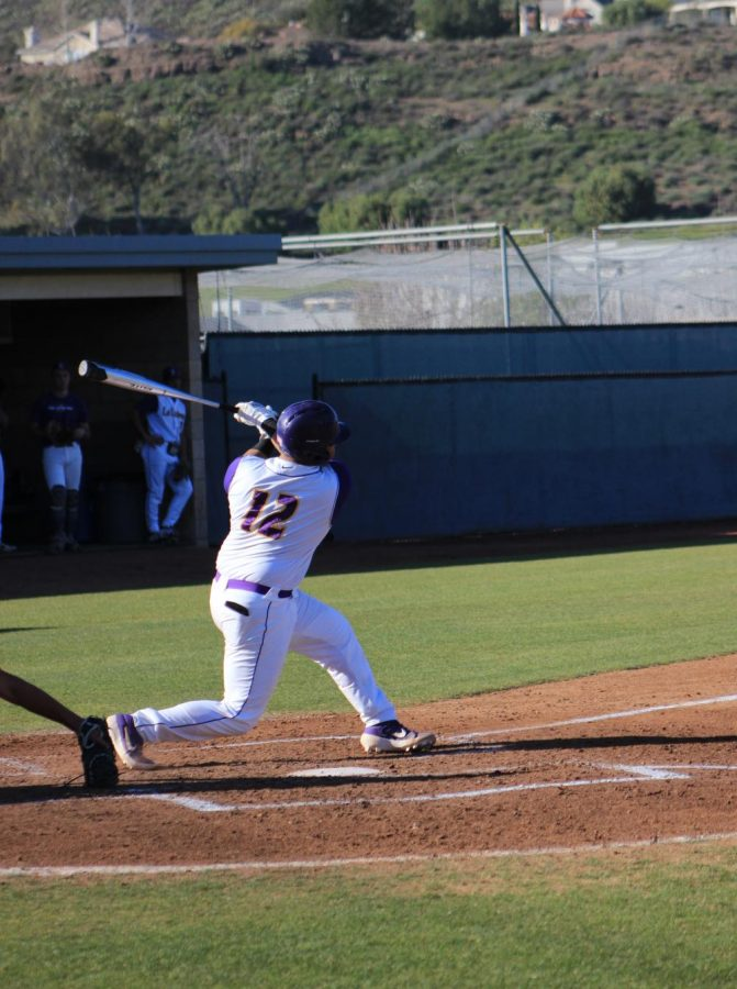 Sophomore catcher Jalen Parks follows through after a well-placed hit against Cal Tech on Feb. 14.