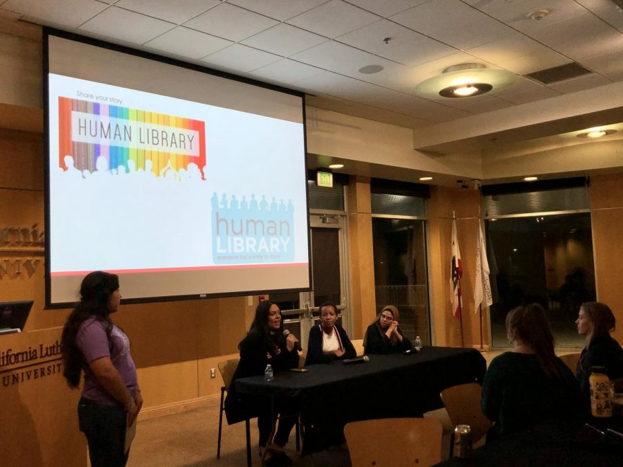 Challanging worldviews: Campus Minister Hazel Salazar-Davidson answers a question about how she describes her worldview alongside first-year Naomi Mbise and senior Sana Shah during the Better Together Day's Human Library panel.