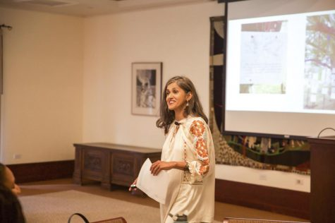 Sehba Sarwar speaks in front of a group of students at Scripps College in September 2019.