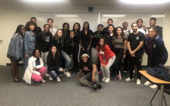 Black Student Union members with guest speaker, Track & Field Olympic Gold Medalist Dalilah Muhammad. (Photo taken pre-pandemic.)