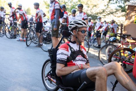 Kevin Heller, who was diagnosed with ALS in July 2019, rides tandem with his brother during the Sept. 26 Napa Valley Ride to Defeat ALS.