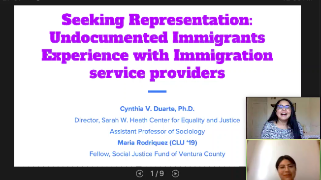 On Oct. 2, Cynthia Duarte, director of the Center for Equality and Justice and assistant professor of Sociology at California Lutheran University and Maria Rodriguez, fellow for the Social Justice Fund for Ventura County, presented their research surrounding the barriers undocumented immigrants face when seeking legal representation.