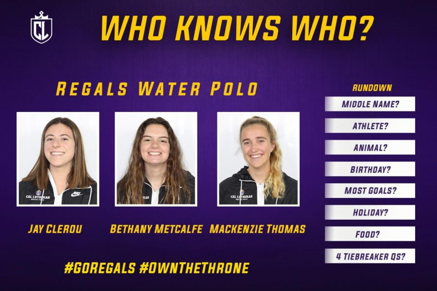 Regals Water Polo players, Jay Clerou, Bethany Metcalfe and Mackenzie Thomas faced off in the new game show series 'Who Knows Who.'