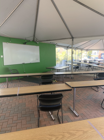 Outdoor class rooms on campus.