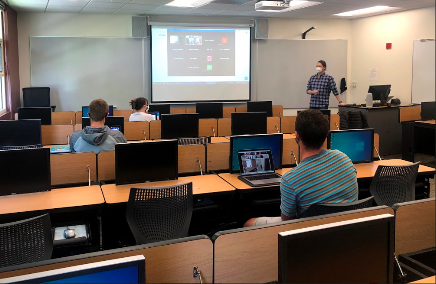 Students who transitioned to in-person learning midway through the semester at Cal Lutheran still have to sign into Zoom to interact with students learning remotely.