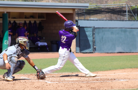 California Lutheran University sophomore and infielder for the Kingsmen baseball team, Kyle Reuser faces University of Antelope Valley pitcher in game one of this weekends series.