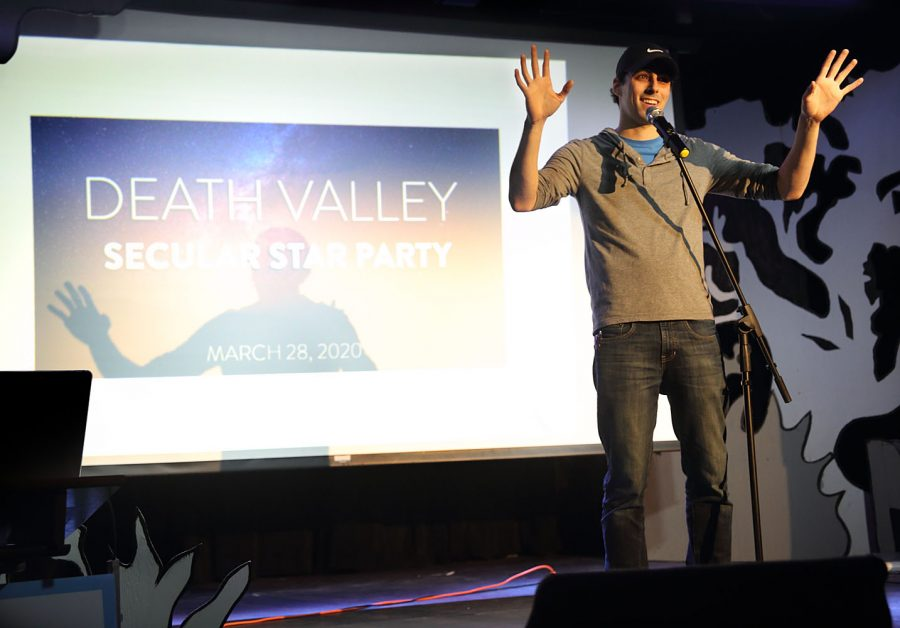 Alumni Evan Clark gives a speech at Death Valley Secular Star Party on March 28th, 2020.