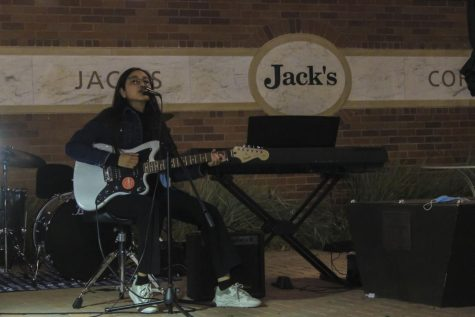 Rafia Fairooz takes the stage at the Musicians Clubs Open Mic Night at Jacks Corner.