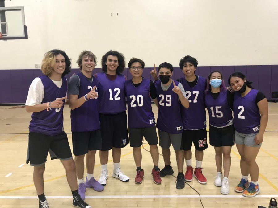Cal Lutheran intramural basketball team, The Benchwarmers, show some team spirit for their second game of the season.